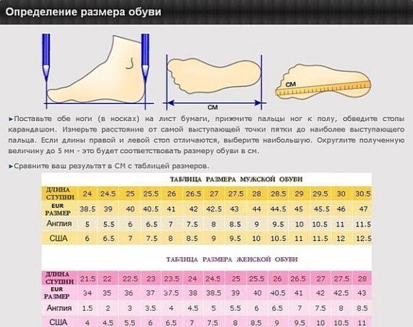 таблица размеров обуви на Алиэкспресс