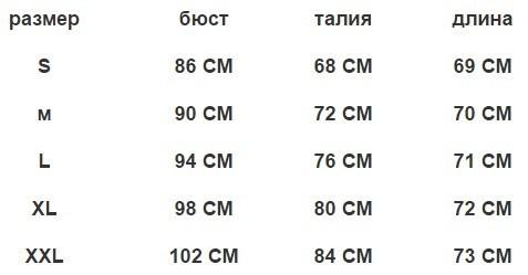 Таблица размеров комбинезон